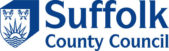 Blue and white logo for Suffolk County Council