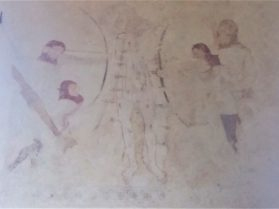medieval painting on church wall depicting St George and the dragon