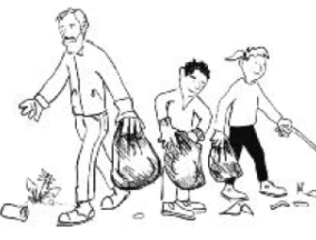 cartoon-adult-and-kids-picking-up-litter