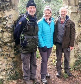 Claire Balding and two walkers