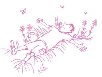 cartoon boy laying on his back in a meadow
