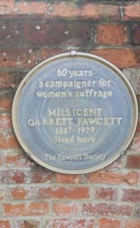 Millicent Garrett-Fawcett's blue plaque